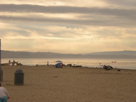 Capitola CA beach and mountains